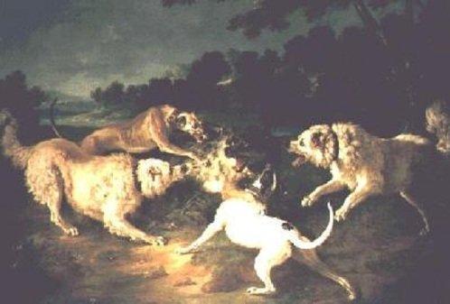 """""""La Chasse au Loup"""" by Jean-Baptiste Oudry (1746) A képen 2 angol agár és 2 Pireneusi támad egy farkasra, Forrás: retrieverman.net"""