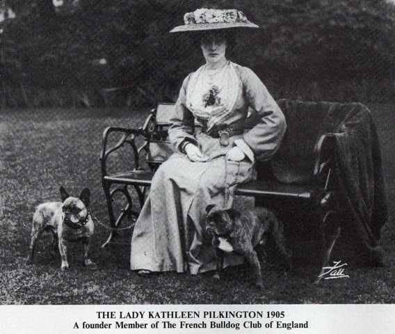 Előkelő hölgy Bulldogjaival